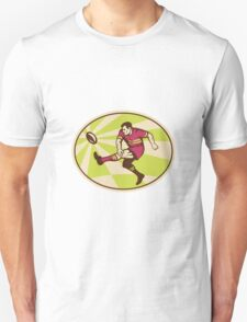 rugby player kicking ball side low Unisex T-Shirt
