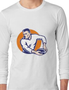 rugby player passing ball vintage Long Sleeve T-Shirt