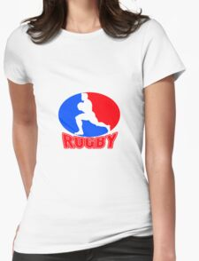 rugby player running ball Womens Fitted T-Shirt
