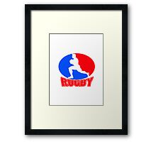 rugby player running ball Framed Print