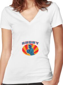rugby player running ball with text Women's Fitted V-Neck T-Shirt