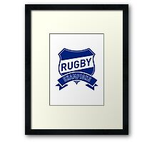 rugby champions text shield and scroll Framed Print