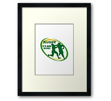 rugby players fending and attacking Framed Print