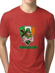 Irish leprechaun rugby player Tri-blend T-Shirt