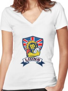 rugby player lion with ball Women's Fitted V-Neck T-Shirt