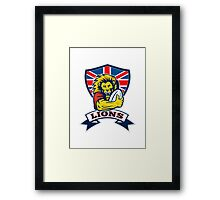 rugby player lion with ball Framed Print