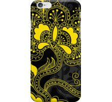 Black And Yellow Retro Floral Design. iPhone Case/Skin