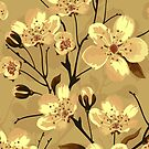 Pastel Brown And Yellow Flowers Design by artonwear