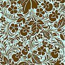 Brown And Blue Vintage Floral Damasks Pattern by artonwear