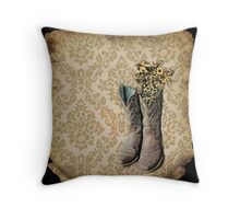 rustic modern brown damask western country cowboy boots Throw Pillow