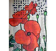 A Poppy Crossword Photographic Print