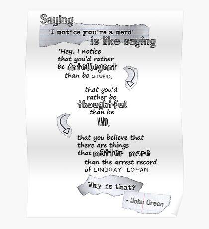 A Little John Green Inspiration Poster