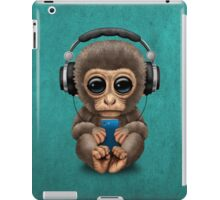 Cute Baby Monkey With Cell Phone Wearing Headphones Blue iPad Case/Skin