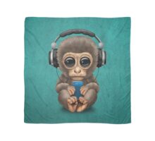 Cute Baby Monkey With Cell Phone Wearing Headphones Blue Scarf