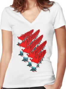 Fish Marching Women's Fitted V-Neck T-Shirt