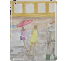 Watching people cross a wet street. iPad Case/Skin