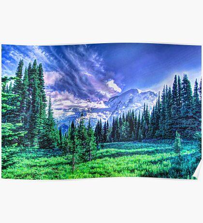 Painterly Mount Rainier Poster