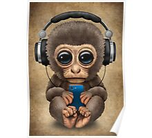 Cute Baby Monkey With Cell Phone Wearing Headphones  Poster