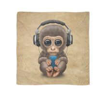 Cute Baby Monkey With Cell Phone Wearing Headphones  Scarf