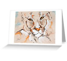 Cougar Amber Eyes - Animal Art by Valentina Miletic Greeting Card