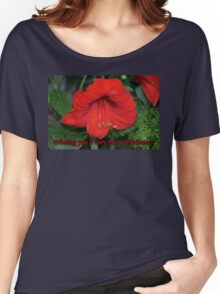 Merry Christmas Card-Amaryllis Women's Relaxed Fit T-Shirt