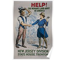 Help! The Womans Land Army of America New Jersey Division State House Trenton Poster
