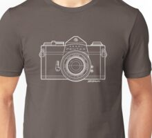 Asahi Pentax 35mm Analog SLR Camera Line Art Graphic White Outline Unisex T-Shirt