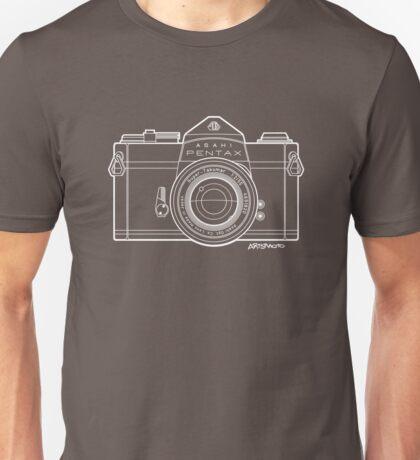 Asahi Pentax 35mm Analog SLR Camera Line Art Graphic White Outline Unisex T-Shirt
