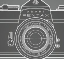 Asahi Pentax 35mm Analog SLR Camera Line Art Graphic White Outline Sticker