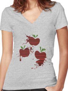 Apple Jack Cutie Mark Grain & Splatter Women's Fitted V-Neck T-Shirt