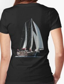 Turkish Gulet Under Sail Isolated On White Womens Fitted T-Shirt