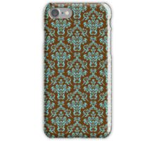Brown and blue vintage damasks pattern iPhone Case/Skin