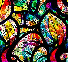 Colorful Stained Glas Like Abstract Swirls 2 by artonwear
