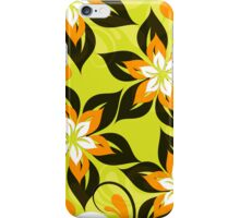 Retro flowers yellow, white and black colors design iPhone Case/Skin