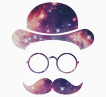 Retro Face with Moustache & Glasses / Universe  One Piece - Short Sleeve