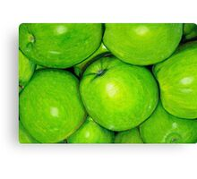 Green Apples in Colour Pencil Canvas Print