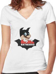 BATMARIO - Batman Mario Mashup Women's Fitted V-Neck T-Shirt