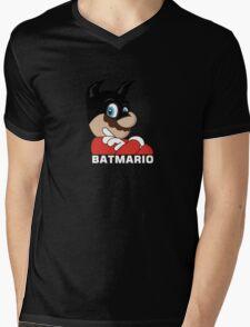 BATMARIO - Batman Mario Mashup Mens V-Neck T-Shirt
