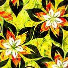 Colorful Warm Tones Retro Floral Collage by artonwear