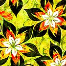 Colorful Warm Tones Retro Floral Collage by artonwear