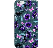 Blue and black retro flowers and butterfly's design iPhone Case/Skin