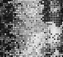 Metallic Silver Gray Sequins Look-Disco Ball Pattern by artonwear