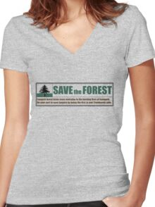 Save Fangorn Women's Fitted V-Neck T-Shirt