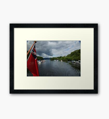 Flag on Boat Framed Print
