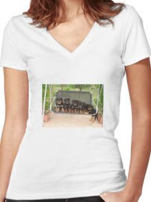 Six Rottweiler Puppies Lined Up On A Swing Women's Fitted V-Neck T-Shirt
