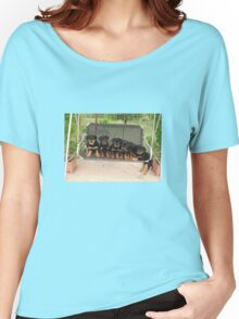 Six Rottweiler Puppies Lined Up On A Swing Women's Relaxed Fit T-Shirt