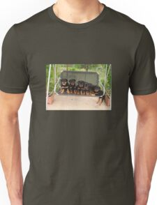 Six Rottweiler Puppies Lined Up On A Swing Unisex T-Shirt