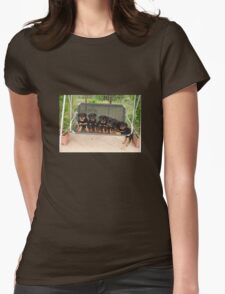 Six Rottweiler Puppies Lined Up On A Swing Womens Fitted T-Shirt