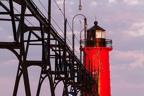 South Haven Michigan's South Pierhead Light at Dawn by Kenneth Keifer