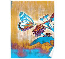 Vintage Butterfly on flower  Poster
